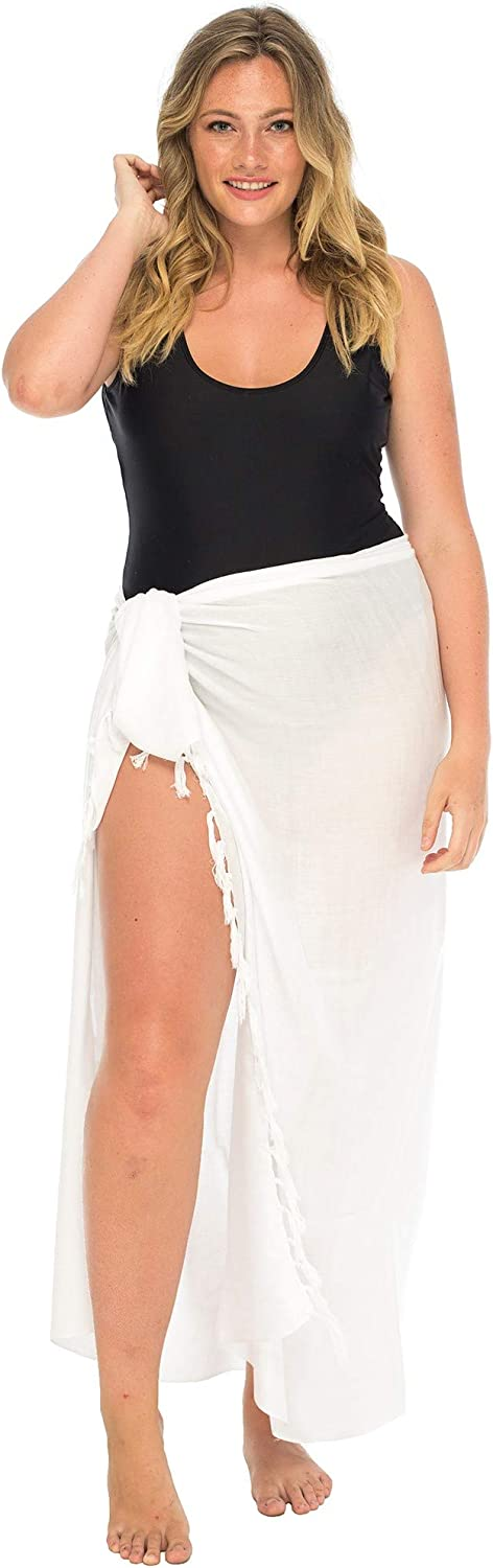 Back From Bali Womens Plus Size Sarong Swimsuit Cover Up Solid Beach Wear Bikini Wrap Skirt with Coconut Clip