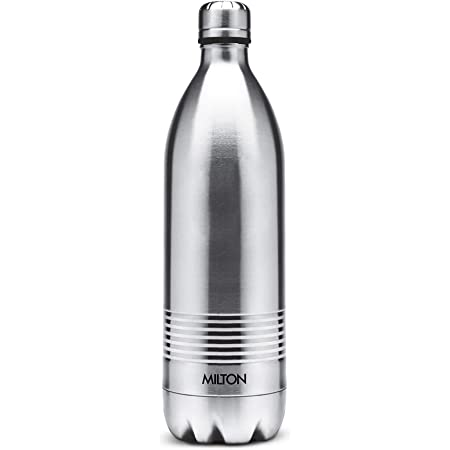 Milton Duo Deluxe 1000 Thermosteel 24 Hours Hot and Cold Water Bottle, 1 Litre, Silver