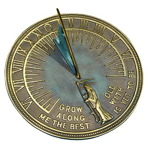 Brass Father Time Sundial with Verdigris Highlights