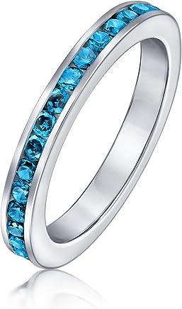 Bling Jewelry 贝灵珠宝 925银 仿蓝色黄玉锆石 十二月诞生石戒指 可叠戴永恒戒指 纽约直邮 【亚马逊海外卖家】