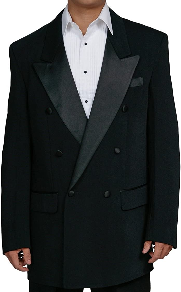 New Men's Black Double Breasted Tuxedo Suit with Jacket and Pants