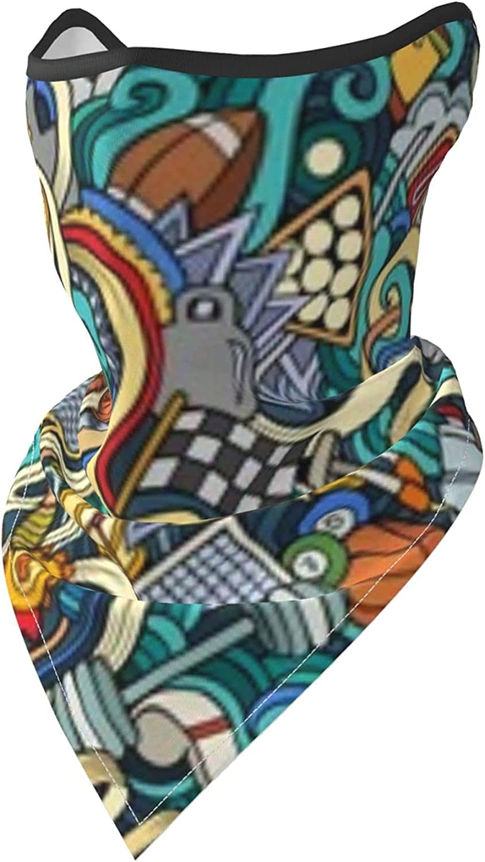 Cartoon Cute Doodles Sport Balls Equipment Breathable Bandana Face Mask Neck Gaiter Windproof Sports Mask Scarf Headwear for Men Women Outdoor Hiking Cycling Running Motorcycling