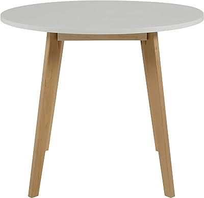 AC Design Furniture Medina Table à manger, Bouleau, Blanc, 90 x 90 x 76 cm