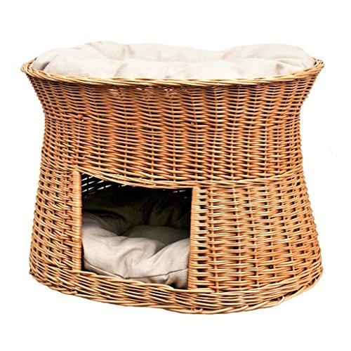 GalaDis 2-22-1 Große Katzenhöhle XXL (75 x 55 x 53 cm) aus Weide mit Zwei Kissen/Katzenkorb/Katzenbett für eine oder Zwei Katzen/Katzenturm auch f. Maine Coon & Co.