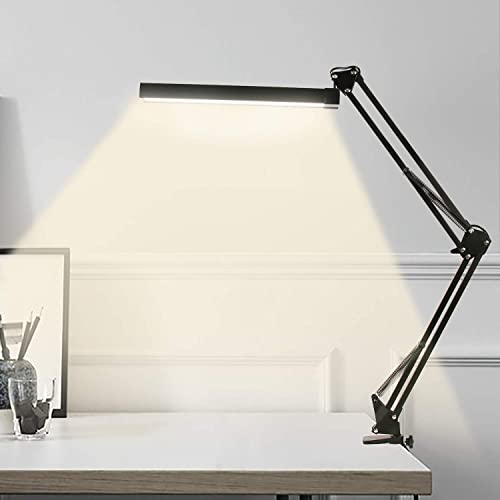 YOUKOYI A16S Metal LED Swing Arm Desk Lamp Dimmable Architect Drafting Lamp Clamp for Study/Reading/Office/Work 3 Bri...