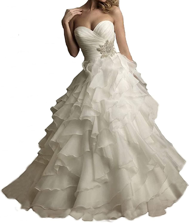 04fd2b16eb Weddinglee Wedding Dresses 2017 for Bride Organza Sweetheart Lace Up Beaded  Wedding Dresses 2015