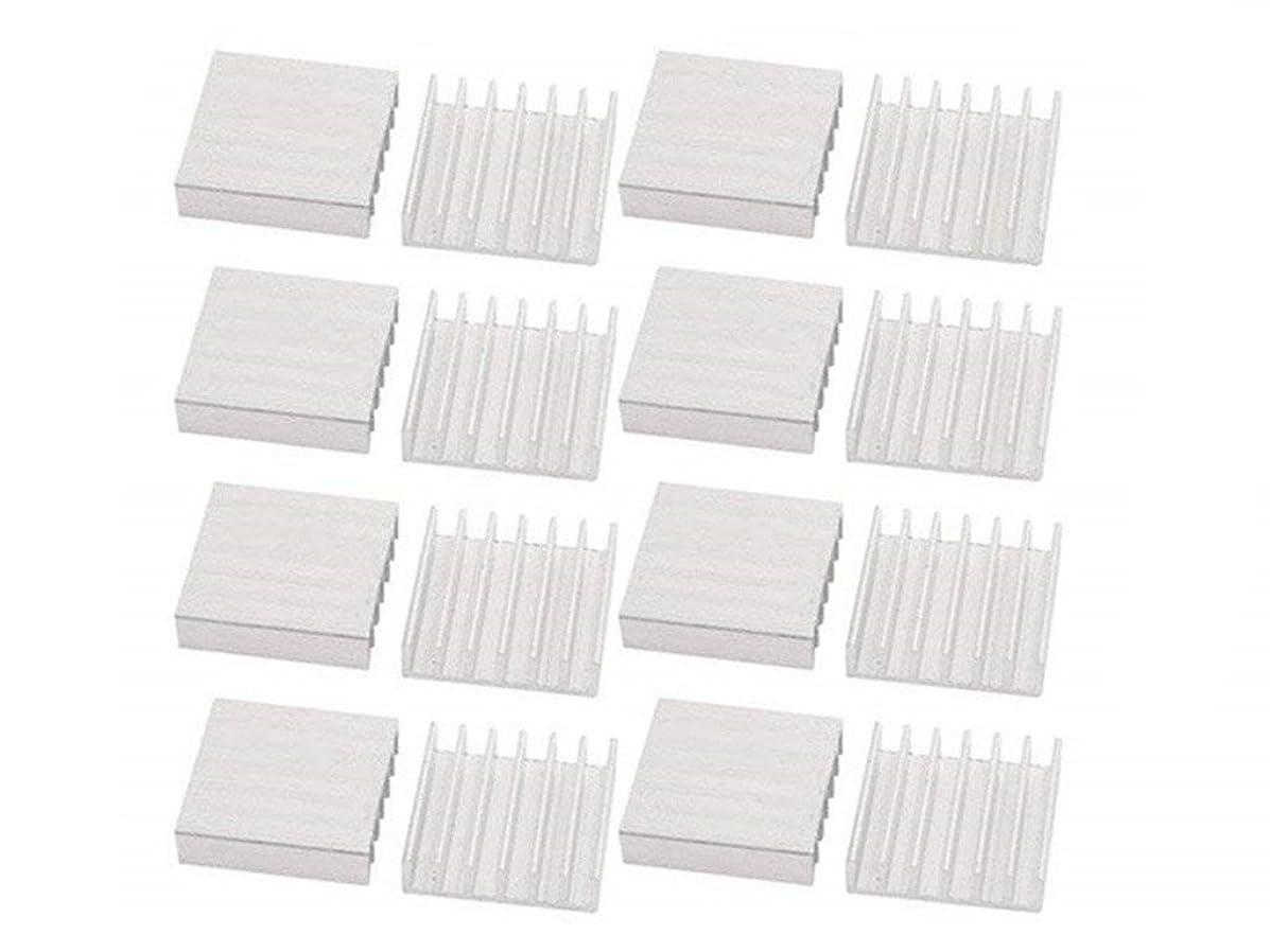 XJS 20 Pcs Aluminum Heatsink Heat Diffuse Cooling Fin Silver Tone (14x14x6mm)