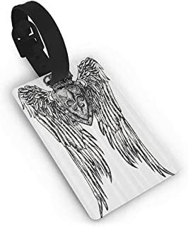 Luggage Tags Fleur De Lis Decor Collection,Tribal Tattoo Design with Wings Aged Arms Badge Crest Crown Eagle,Black and White Straps Suitcase