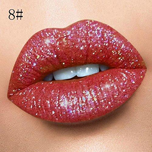 SUGEER 18 Farben Matte Glitzer Lippenstift Metallic Pearl Lipgloss Wasserdicht Dauerhaft Diamond...