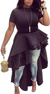 Women Ruffle High Low Asymmetrical Irregular Short Sleeve Tops Shirts Blouse Dress