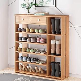 Étagère à chaussures Lame en bois MDF chaussures rack étagère avec 2 tiroirs vêtements étagère à chaussures étagères de ra...