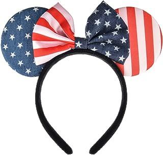 A Miaow Flower Headband Unicorn Headpiece Mickey Mouse Ears Costume Minnie Hair Hoop Halloween Part (Stars and Stripes)
