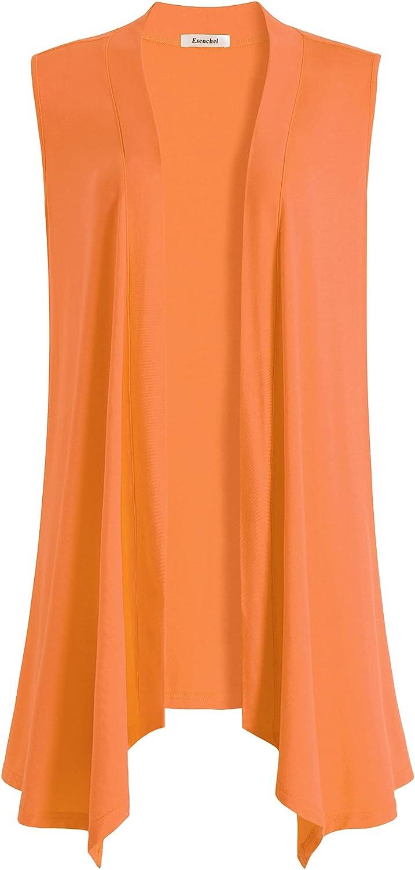 Esenchel Women's Plus Size Sleeveless Draped Open Front Cardigan Vest