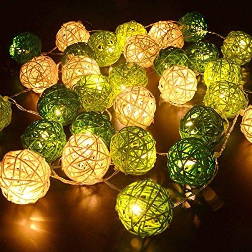 LED-Lichterkette mit Rattan-Kugeln,Dinowin,20 LED-Kugeln,5 cm Durchmesser,Rattan-Lichter für Innenbereich,Hochzeit,Urlaub,Terrasse,Zuhause,Schlafzimmer,batteriebetrieben Modern Grün/Weiß