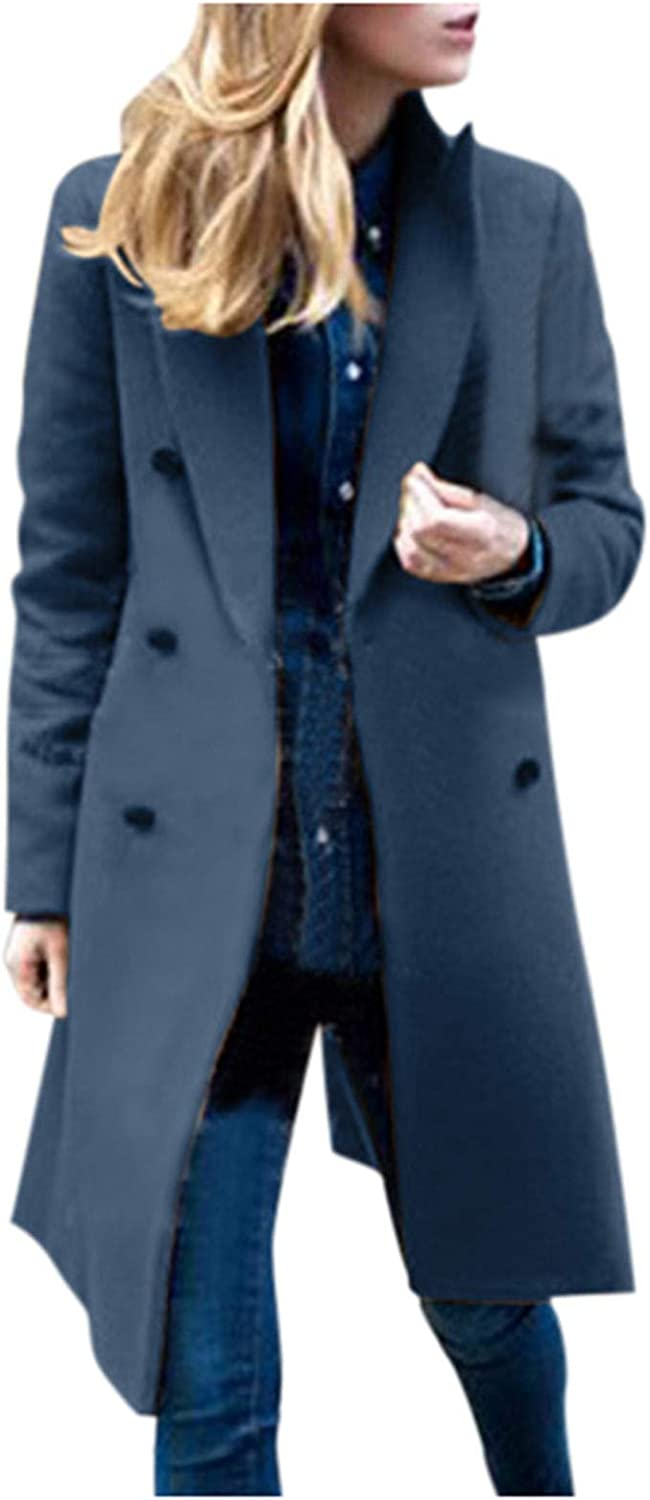 Hengshikeji Women Elegant Notched Lapel Collar Double Breasted Winter Mid-Long Wool Blend Pea Coat Trench Coat
