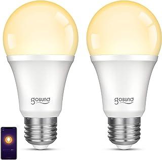 Bombilla inteligente Gosund LED E27 Smart Bulb, bombilla conectada wifi 2,4 GHz, bombilla de bajo consumo, compatible con Alexa, Google Home, control de teléfono, regulable, blanco cálido, 2 unidades