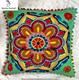 Indian Suzani Designer Home & Bedroom Decor Floral Sofa Pillow Case Handmade Pillow Cover Decorative Boho Chic Bohemian Throw Pillow , Pillow Insert Boho Decor Hand Embroidered Couch Cushion Cover
