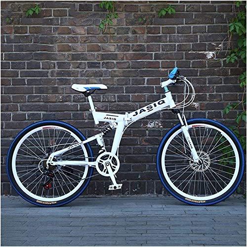 Jugendfahrrad 24/26 Zoll Rad 27speed Variable Geschwindigkeit Straße Fahrrad Erwachsene Faltbare Mountainbike Männer Kohlenstoffstahl Rahmen Rennfahrt (Farbe: Weiß Blau Speiche, Größe: 27 Geschwindigk