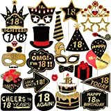 Amosfun 29pcs 18th Birthday Photo Booth Puntelli Glitter Birthday PropsParty Accessories for Birthday Party Decoration Favors Supplies