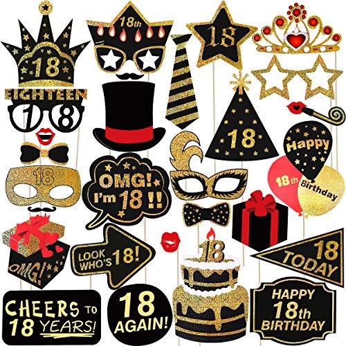 LUOEM 18. Geburtstag Photo Booth Props Glitter Geburtstag Party Zubehör Zubehör Keine DIY ERFORDERLICH, Pack von 29