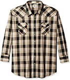 ELY CATTLEMAN Men's Long Sleeve Plaid Western Shirt, Black, X-Large