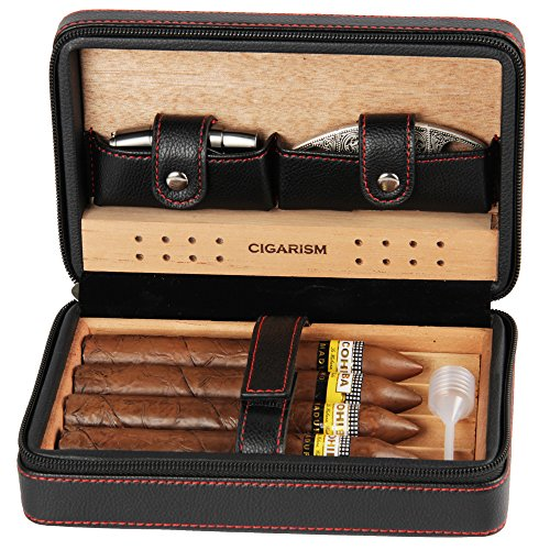 Cigarism lichee pattern leather cedar lined case travel humidor w/cutter lighter set 4 count (black)