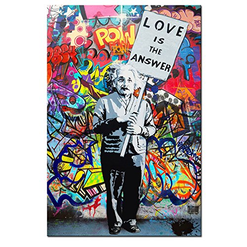 "DVQ ART - Framed Art ""Love is Answer"" Canvas Print Painting Colorful Figure Street Graffiti Wall Art Pics for Living Room Decor Ready to Hang 1 PCS"