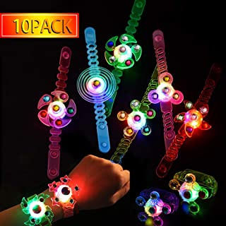 Party Favors for Kids 10 Pack Light Up Bracelets Classroom Prizes Box Glow in The Dark Party Supplies Girls Boys Birthday Halloween Christmas Party Favor Hand Spin Stress Relief Anxiety Toys