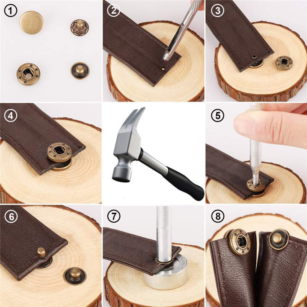 Arokimi Snap Fastener Kit,Metal Snaps Buttons with Fixing Tools, 4 Color Clothing Snaps Kit for Clothing, Leather, Jacket, Jeans Wear, Bags, Bracelet