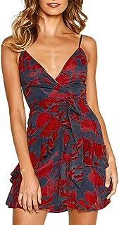 Caopixx Women's Summer V-Neck Sleeveless Polka Dot Beach Dress Short Mini A-Line Dress