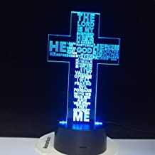 BFMBCHDJ Jesus Christ Cross USB 3D LED Night Light Regalos Escritorio Lámpara de mesa Dormitorio El Señor es mi pastor Biblia Libro Lámpara