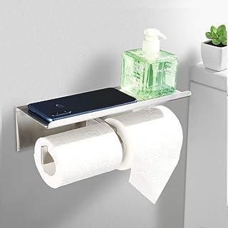 Faulkatze Roestvrijstalen toiletpapierhouder met legplank, dubbele wc-rolhouder, wc-papierhouder, wc-papierhouder, wc-rolh...