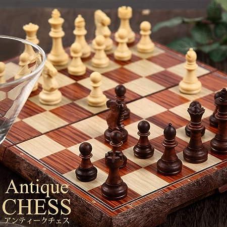 アンティーク チェス マグネット 木製風 ボードを折りたたむと収納可能 【日本語説明書付き】 (Lサイズ)