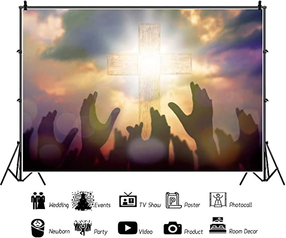 Holy Cross Backdrop 7x5ft Good Friday Polyester Photography Background Holy Light Jesus God Bless Worship Cucoloris Raised Hands Christ Saint Pentecostal Halloween Portraits Shoot Decor Poster