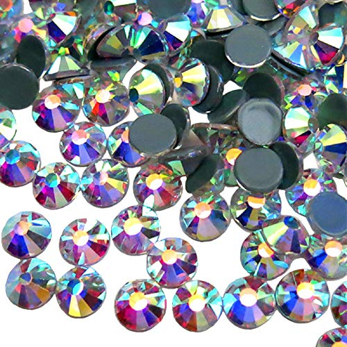 Jollin Hot Fix Diamantes de imitación de cristal con espalda plana Diamante redondo Gemas Strass, 7.2mm, SS34 288pcs, Crystal AB
