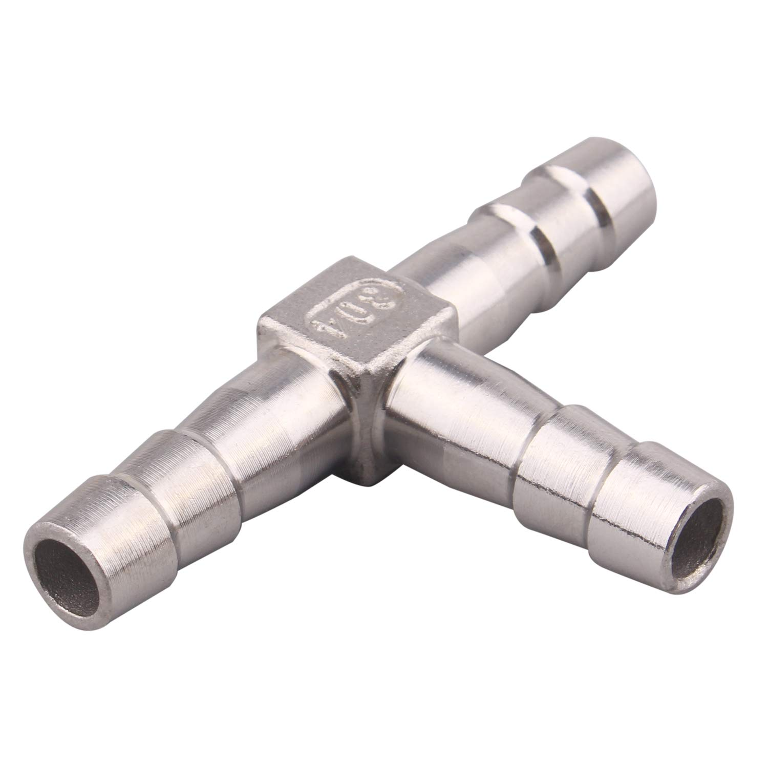 DERPIPE Stainless Steel 5//16 Hose Barb, 3 Way Tee T Shape Union Barbed Splitter Fitting (Pack of 2