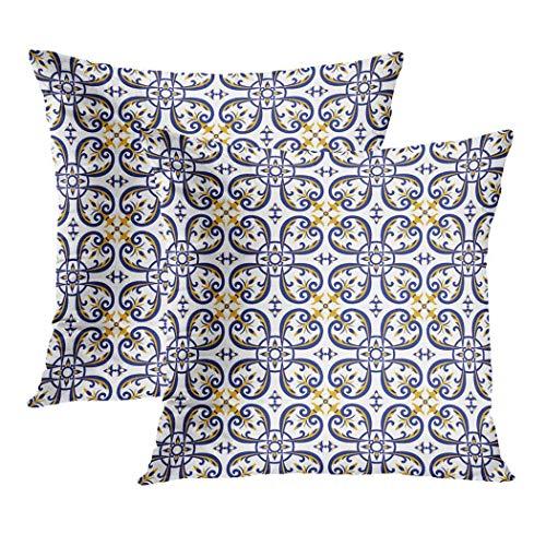 Y·JIANG Funda de cojín azul, color amarillo y blanco mexicano Azulejos portugués Talavera suave terciopelo cuadrado funda de cojín funda de almohada para sofá silla dormitorio, 45 x 45 cm, juego de 2
