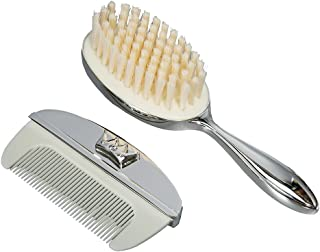 Modali Baby Brush & Comb Crown Icon with White Crystal Silver Plated Lacquer Finish