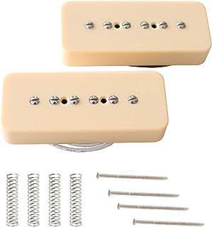 Metallor P90 Soapbar Pickup Bridge and Neck Single Coil Pickups Set for Electric Guitar Parts Cream.