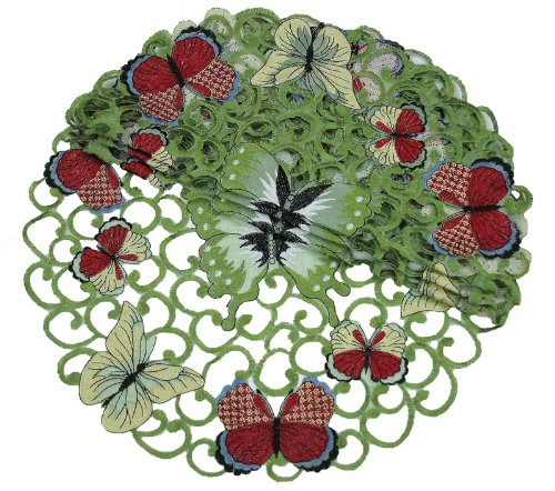 Xia Home Fashions Butterflies Embroidered Cutwork Spring Doilies, 12-Inch Round, Set of 4