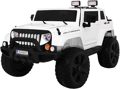 ahorra hasta un 70% Coche Electrico Electrico Electrico para Niños Auto Alimentado con Batería Vehículo Eléctrico Control Remoto - Mighty Jeep 4x4 - blanco  precios ultra bajos
