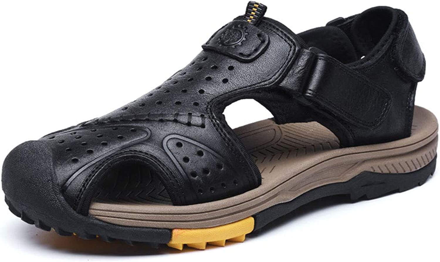 Mens Walking Sandals Leather Closed Toe Outdoor Sports Beach Sandal for Hiking Trekking Traveling Ankle Strap,Black,40