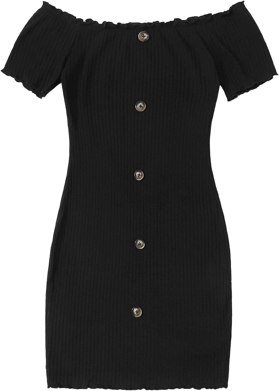 Floerns Women's Plain Off Shoulder Button Bodycon Mini Dress