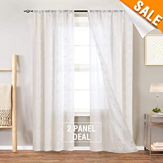 95 Inch Long White Semi Sheer Double-Layered Cutains Mix Match Tulle Overlay French Floral Embroidered Drapes for Living Room White Sheers for Bedroom with 2 Pieces Rod Pocket