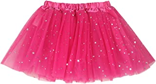 b1992f1453 buenos ninos Girl's 3 Layers Star Sequin Ballet Skirt Princess Sparkling  Dress-up Tutu