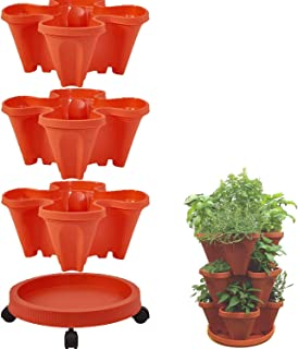 Stackable Plastic Four Petal Flower Pot Multi-Layer Superimposed Cultivation Pot with Moving Tray,Vegetable and Fruit Plan...