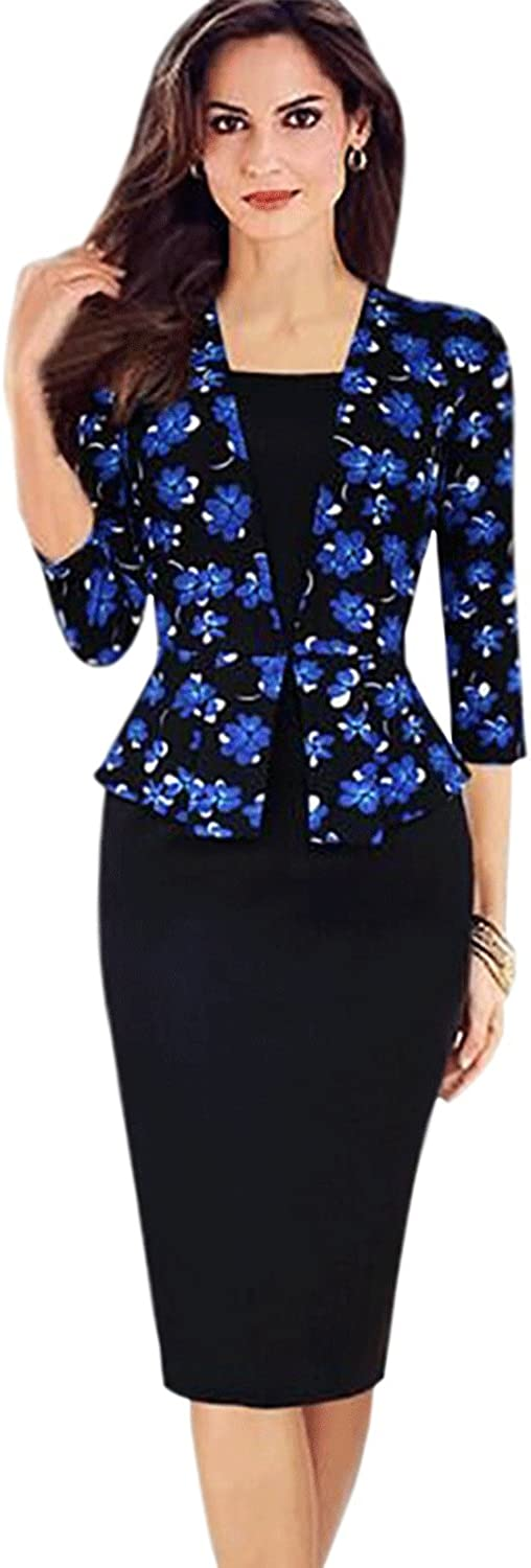 Women Fitted Skirt Style Fashion Pencil Printed Dress Black
