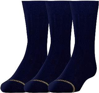 12 PAIR Gold Toe Boys Small (3-8 1/2) Dress Rib Crew NAVY Socks FOUR 3 packs (12 pair) (4)