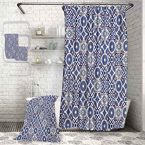Moroccan Luxury Waterproof Shower Curtain with Anti-Rust Buckle 4-Piece Bathroom Set Old Ottoman Style Inspired Mix of Moroccan Tiles in Modern Shades Artwork Print for Swimming Pool spa and Gym (W72
