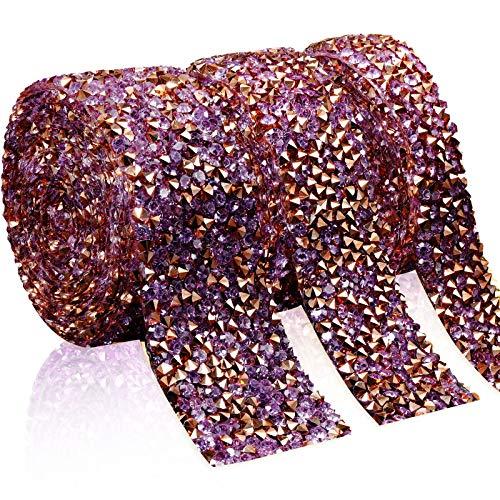 Cinta de Diamantes de Imitación Cristal de 3 Yardas Rollo de Cintas Brillantes Envoltura de Cinturón Bandas para Decoración Manualidades, 3 Rollos en 3 Tamaños (Oro Rosa)